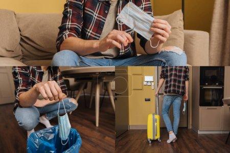 Photo pour Collage de l'homme marchant avec des bagages et tenant des masques médicaux, concept de fin de quarantaine - image libre de droit