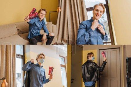 Photo pour Collage de l'homme élégant dans des masques médicaux et vestes tenant des billets de fête de nuit, concept de fin de quarantaine - image libre de droit