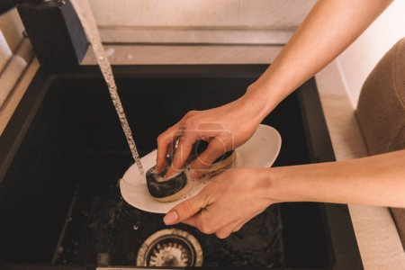 partial view of woman cleaning white plate with sponge