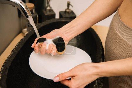 Photo pour Vue recadrée de femme lave plaque blanche avec éponge - image libre de droit