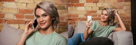 Photo for Collage of smiling woman talking and having video chat on smartphone at home, horizontal image - Royalty Free Image