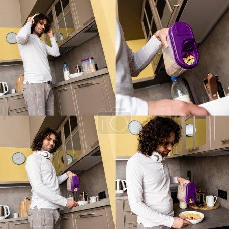 Photo pour Collage d'un bel homme dans des écouteurs versant des céréales dans un bol dans la cuisine - image libre de droit