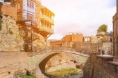 Houses on the rocks with bridge