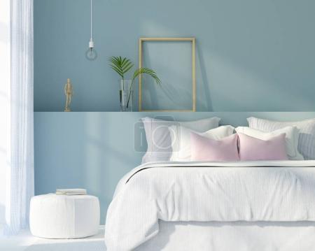 Photo pour Illustration 3D. Intérieur d'une chambre à coucher moderne en couleur blanche et bleue - image libre de droit