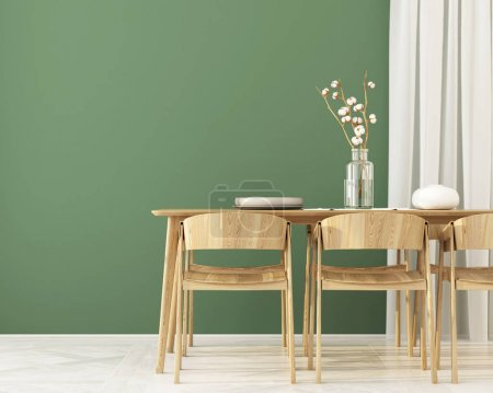 Photo for 3D illustration. Interior of  Dining room with wooden furniture and green wall - Royalty Free Image