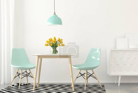 Photo for 3D illustration. Interior of dining room with blue chairs - Royalty Free Image