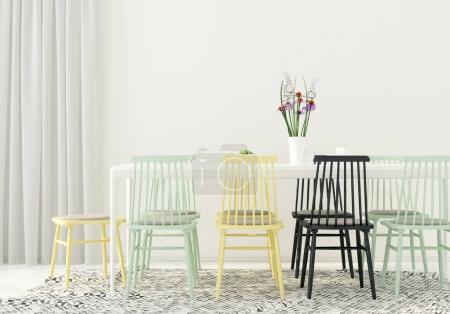 Photo pour Illustration 3D. Intérieur moderne d'une salle à manger avec chaises multicolores - image libre de droit