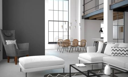 Photo pour Illustration 3D. Intérieur de l'appartement de style loft dans des couleurs claires - image libre de droit