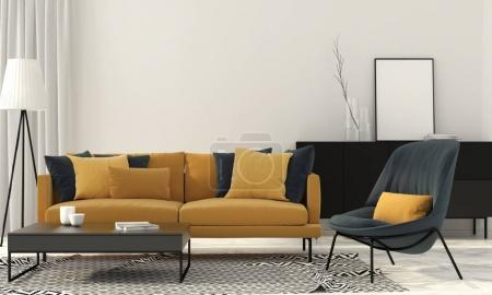 Photo for 3D illustration. Interior of stylish living room with a yellow sofa - Royalty Free Image