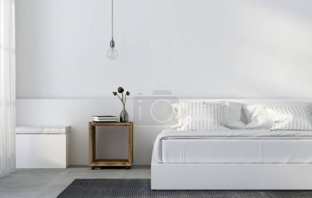 Photo pour Illustration 3D. Intérieur de la chambre à coucher dans un style minimaliste avec des meubles en bois - image libre de droit