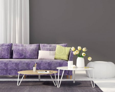 Photo for 3D illustration. Interior of the living room with a purple sofa - Royalty Free Image