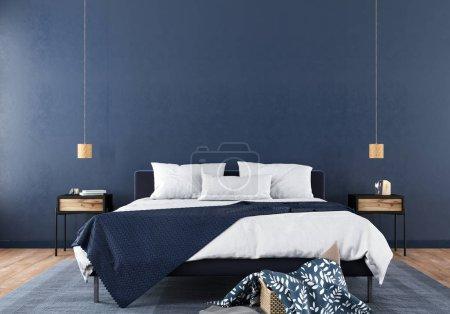 Photo pour Intérieur moderne de chambre à coucher avec une combinaison élégante de texture de bois bleu et clair / illustration 3D, rendu 3d - image libre de droit