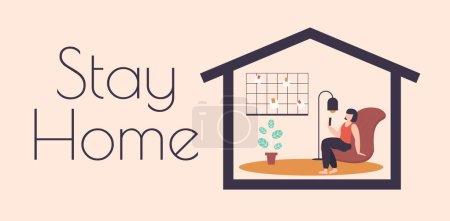 Illustration pour Restez à la maison concept. Travail à domicile caractère indépendant, travail à domicile, travailleurs indépendants, bureau à domicile, illustration vectorielle. télétravail personnage loft lieu de travail avec mood board . - image libre de droit