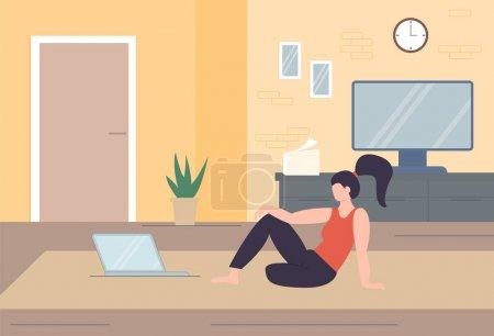 Illustration pour Caractère indépendant travaillant à la maison, travail à domicile, travail indépendant, bureau à domicile, travail à domicile, illustration vectorielle conceptuelle de la liberté. Le télétravail. Technologie d'entreprise sans fil en ligne . - image libre de droit
