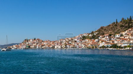 Poros island from yacht