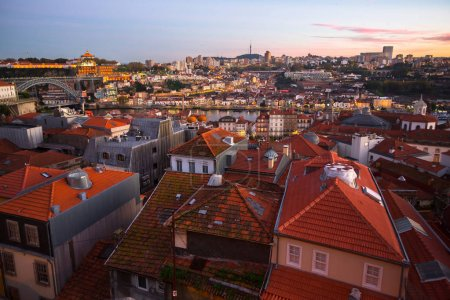 Bird's eye view of the Old Porto and the Douro riv...