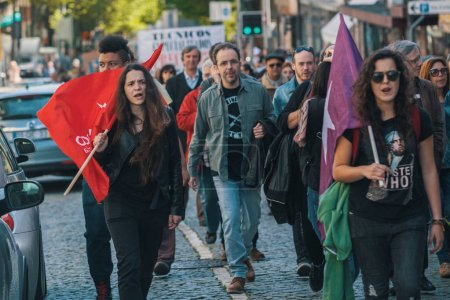 Photo for PORTO, PORTUGAL - MAY 1, 2017: Celebration of May Day in Oporto centre. General Confederation of Portuguese workers - Royalty Free Image