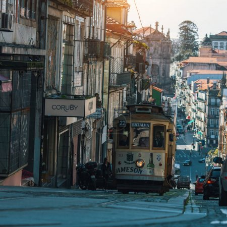 Photo for PORTO, PORTUGAL - MAR 4, 2017: On one of the streets in old downtown. City of Porto was elected from 20 selected Best European Destination 2017 and won this prestigious title. - Royalty Free Image