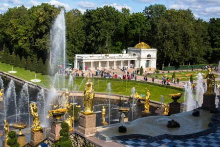 fountains of the Grand Cascade in Peterhof