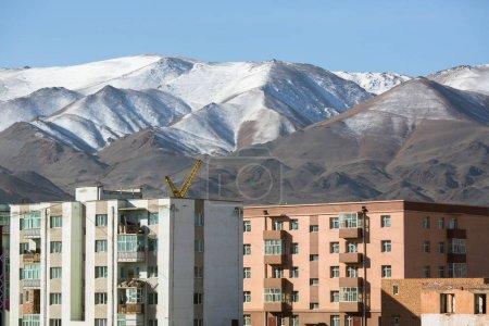Mongolian city, houses and mountains, Bayan-Olgii province of Mongolia