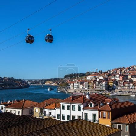 Views of the Douro river, funicular, centre of old Porto, Portugal.