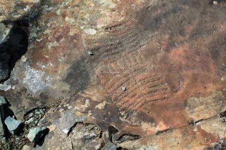 Petroglyphs of the tract Kalbak-Tash, Altai Republic, Russia.