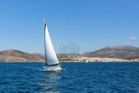 Sailing ship yachts regatta on the Aegean sea.