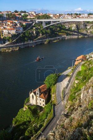 Bird's-eye view of riverside Douro river in Porto, Portugal.
