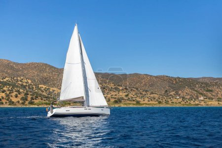 Sailing yacht boat in the Sea.