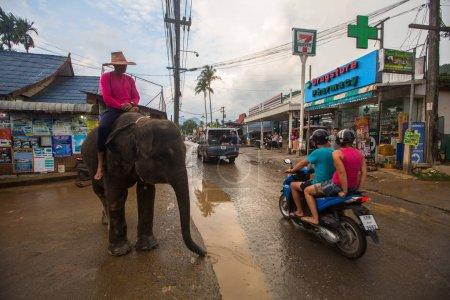 KOH CHANG, THAILAND - FEB 23, 2018: Elephants on the streets of the island. From farm animals nowadays development of the tourism industry found a new use for elephants in Thailand.