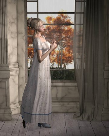 Regency Woman Standing by a Window