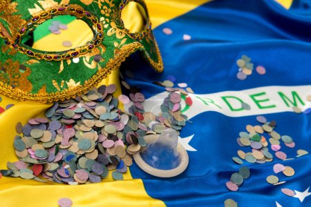 Brazilian carnival on colorful background