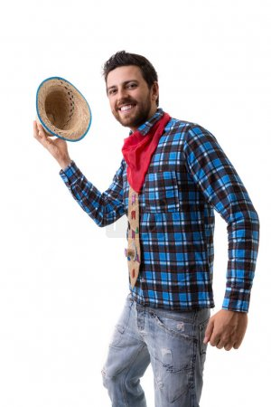 Brazilian man on Junina Party costume