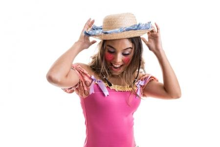 girl in dress and straw hat