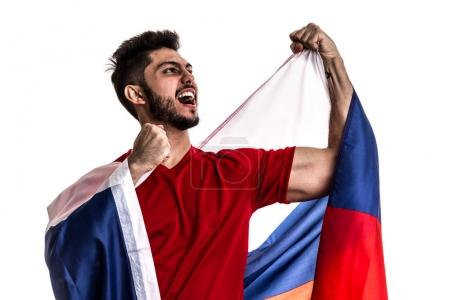 excited male fan holding national flag of Russia isolated on white background