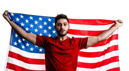 excited American male fan holding national flag of USA isolated on white background