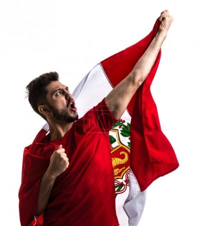 excited male fan holding national flag of Peru isolated on white background