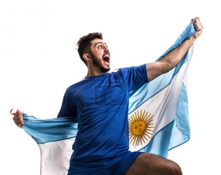 excited male fan holding national flag of Argentina isolated on white background