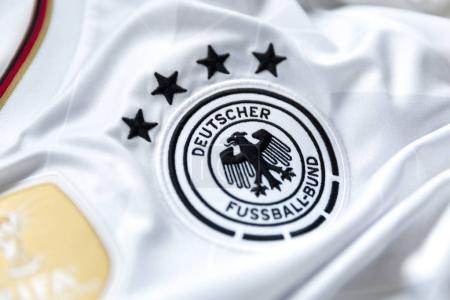 SAO PAULO, BRAZIL - CIRCA JAN 2018: German soccer emblem on jersey