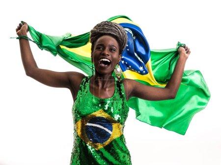 Brazilian afro female fan / athlete celebrating on white background