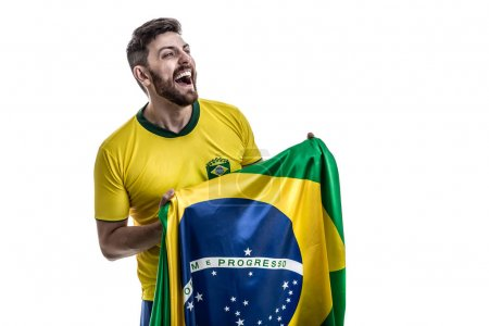 young man football fan with Brazilian flag