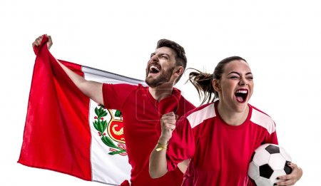 young woman and man football fans with peruvian flag