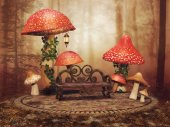 Red fairy mushrooms in a forest