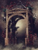 Wooden gazebo with roses and vines