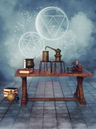 Alchemical objects on a table
