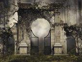 Gothic garden gate with vines