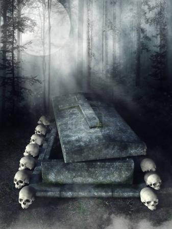 Forest scenery with an old stone tomb and skulls...
