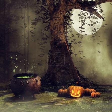 Old tree, pumpkins and cauldron