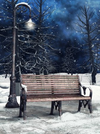 Winter park with a bench, lantern and tall trees