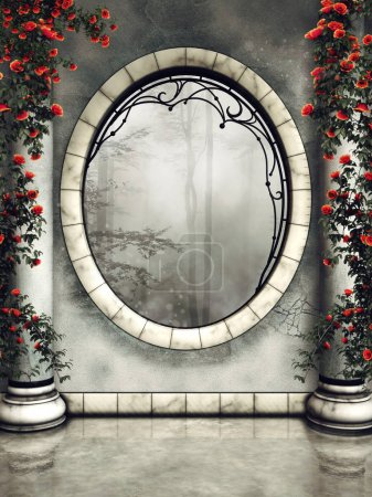 Ornamented gothic window and marble columns with roses and green vines. 3D render.